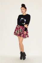 maroon skirt - dark gray sweater