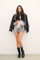black leather jacket - white shirt - silver shorts