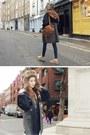 Navy-coat-bronze-bag
