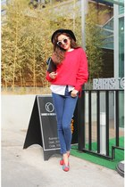 red sweater - navy jeans