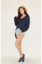 navy sweater - light blue shorts