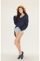 navy sweater - light blue shorts