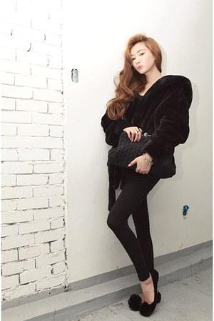 black coat - black flats