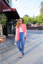 pink blazer - blue pants