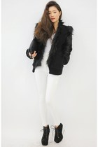 black coat - white pants