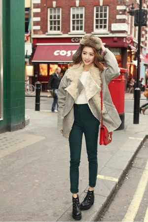 teal pants - black shoes - silver coat - white shirt - ruby red bag