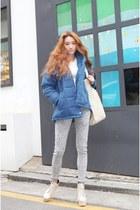 eggshell boots - sky blue jacket - silver pants