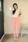 White-shirt-light-pink-pants