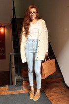 light blue high waisted what the jeans jeans - eggshell sweater - white shirt