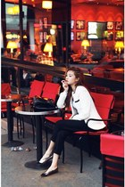 white Stylenanda blazer - black 3-4 pants