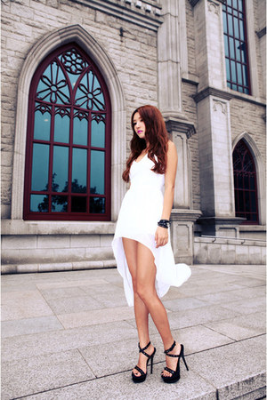 white dress - black heels