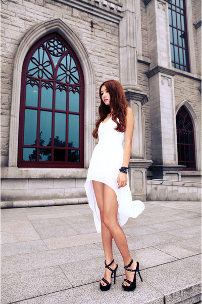 white dress - black heels