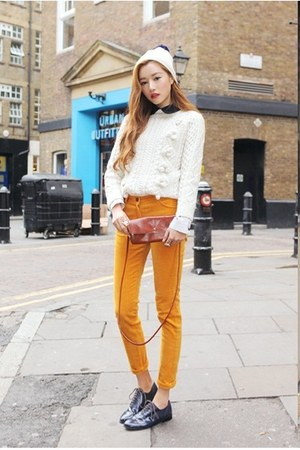 gold pants - navy shoes - ivory sweater