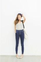navy jeans - top