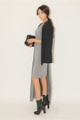 Silver-dress-black-cardigan