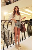 light blue coat - silver shoes - white shirt - brown bag - sky blue shorts