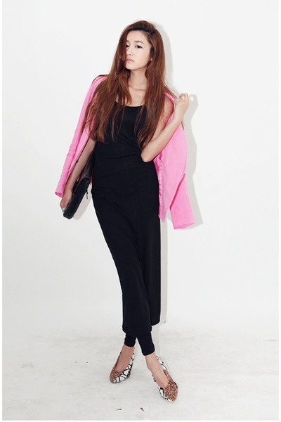 bubble gum blazer - black dress - bronze heels