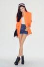 Light-orange-blazer-navy-shorts
