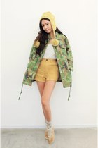 olive green jacket - gold shorts