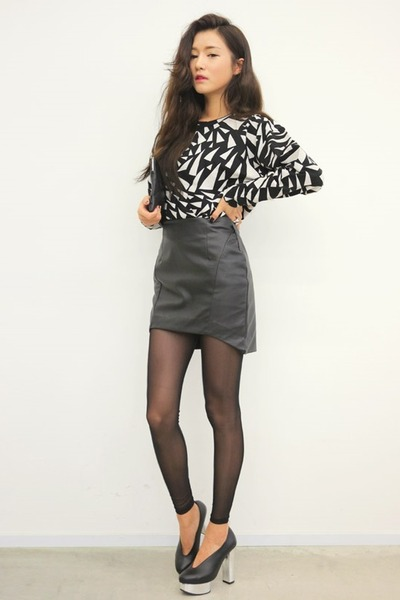 silver top - black skirt