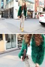 White-shirt-light-yellow-boots-teal-coat-off-white-pants