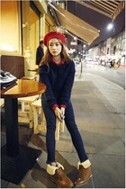 red hat - bronze shoes - navy jeans