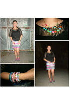 hot pink aztec print skirt - heather gray nike sneakers - black knitted blouse