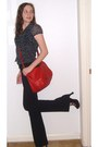 Red-leather-vintage-bag-gap-pants-three-strap-ditto-heels