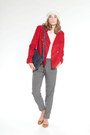 Heather-gray-hat-red-jacket-red-bag-heather-gray-flats-burnt-orange-top
