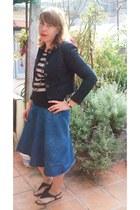 blouse - thrifted jacket - denim skirt - sandals