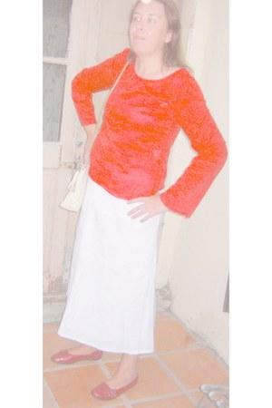 thrifted bag - blouse - skirt - vintage flats