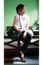black Girlshoppe necklace - black Parisan bag - white Zara top