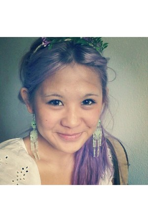light purple hair Hair accessories - green flowers handmade headband accessories