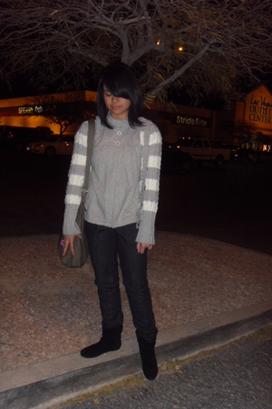 gray Aeropostale sweater - gray MNG blouse - blue Gap pants - black Steve Madden