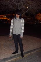 gray Aeropostale sweater - gray MNG blouse - blue Gap pants - black Steve Madden