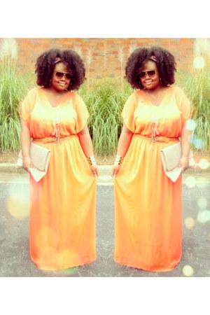 carrot orange maxi dress Target dress - tan clutch asos bag