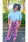Asos-purse-h-m-accessories-denim-old-navy-top-palazzo-jcpenney-pants