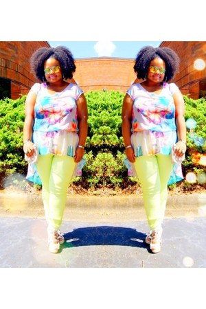 white Bakers shoes - chartreuse Forever21 jeans - floral Forever 21 top