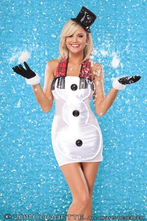 3399 White Satin Mesh Snowman Costume dress