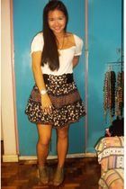 white Mango t-shirt - black skirt - beige Forever 21 shoes - gold accessories -