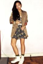 beige ny&c blazer - bangkok dress - white Nine West boots - green socks - white