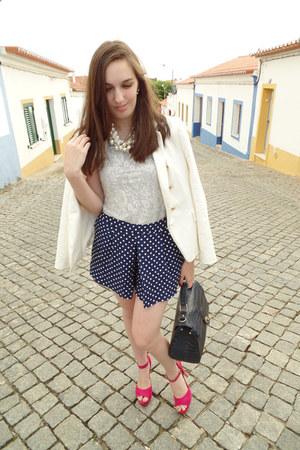 ivory lace H&M t-shirt - white Zara blazer - navy Parfois bag