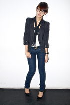 black sm department store blazer - white Topshop - blue Gucci belt - Zara - blac