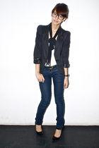 black sm department store blazer - white Topshop - blue Gucci belt - Zara - blac