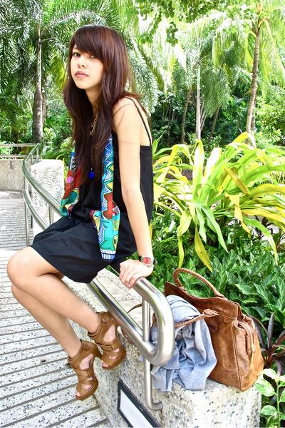 Aldo bag - black cotton on dress - 100 silk from hong kong scarf