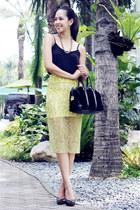 black Gucci bag - yellow lace Zara skirt - black Topshop top