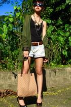olive green babo cardigan - black Forever 21 - Zara - black Forever 21 heels - l