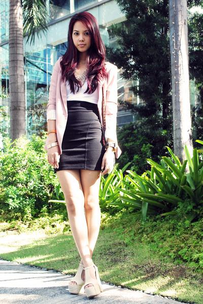 light pink Forever 21 blazer - black Chanel bag