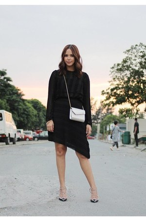 black Zara dress - silver Jimmy Choo bag - black Valentino heels