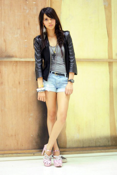 turned top Topshop dress - Coexist jacket - denim Forever 21 shorts - H&M belt -